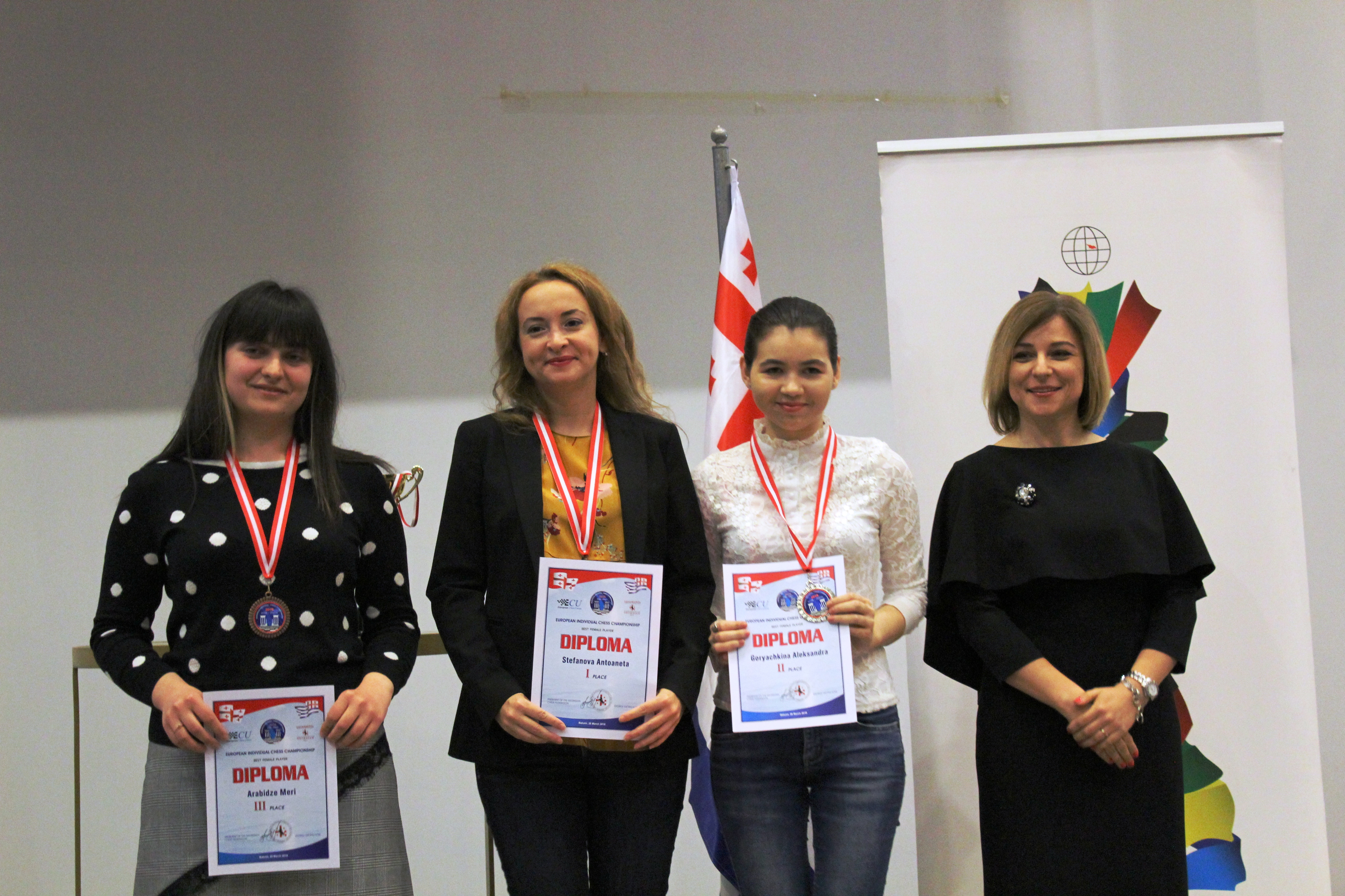 Stefanova Antoaneta, Goryachkina Aleksandra, Arabidze Meri at the 2018 European Championship