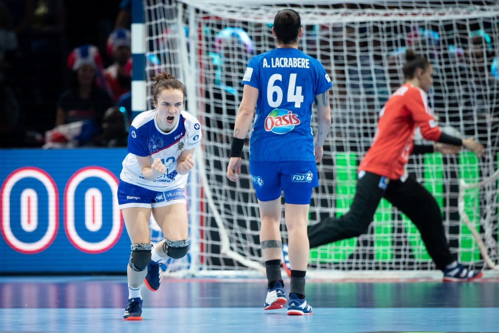 Anna Vyakhireva celebrating after scoring against France during the final