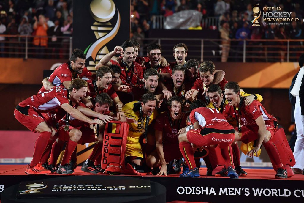 Belgium celebrating their first title as world champion