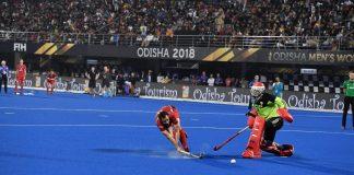 Florent Van Aubel scoring the last penalty to seal the win for Belgium